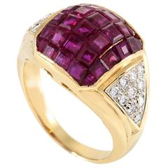 Diamond Pave and Invisible Set Ruby Yellow Gold Ring