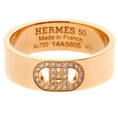 Hermes H d'Ancre Diamond Rose Gold Ring