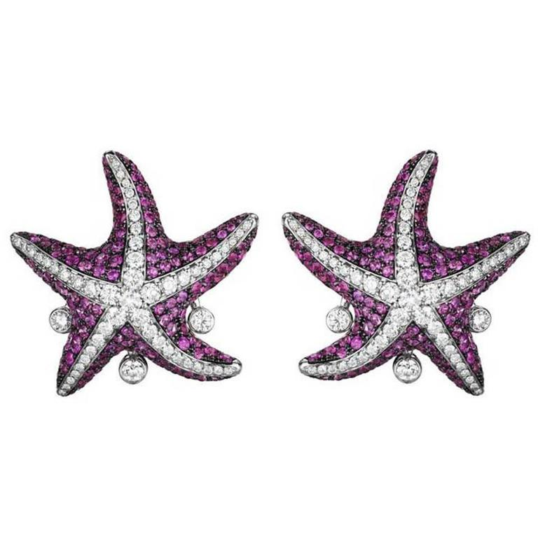 Maggioro Pink Sapphire Gold Starfish Earrings 1