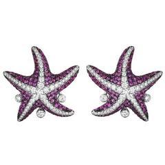Maggioro Pink Sapphire Gold Starfish Earrings