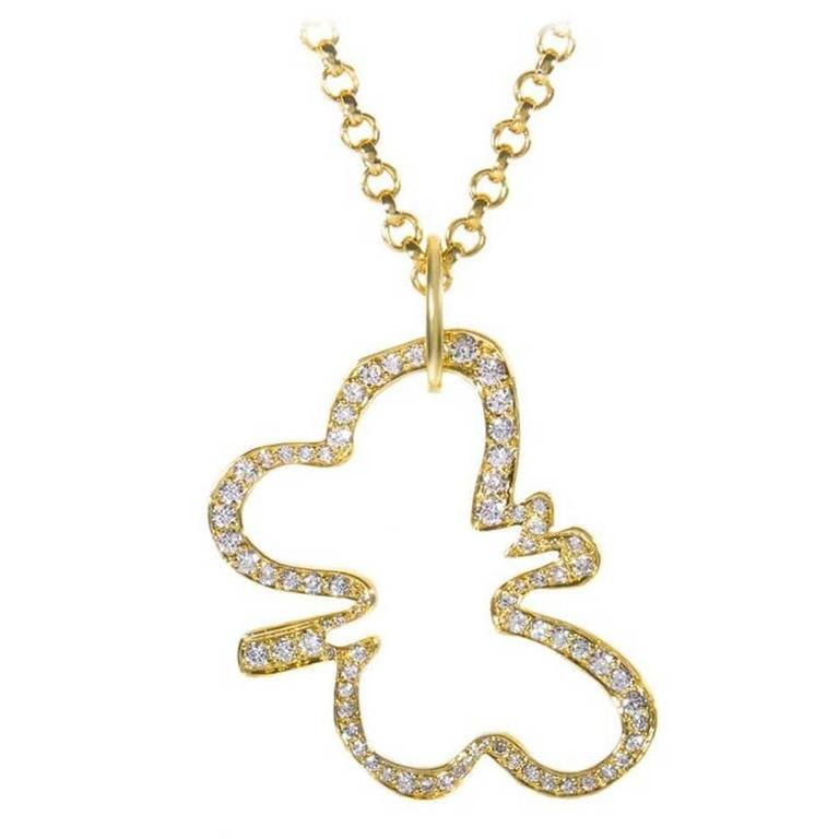 Robert Lee Morris Diamond Gold Butterfly Pendant Necklace