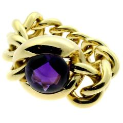 Chanel Cabochon Amethyst Gold Ring