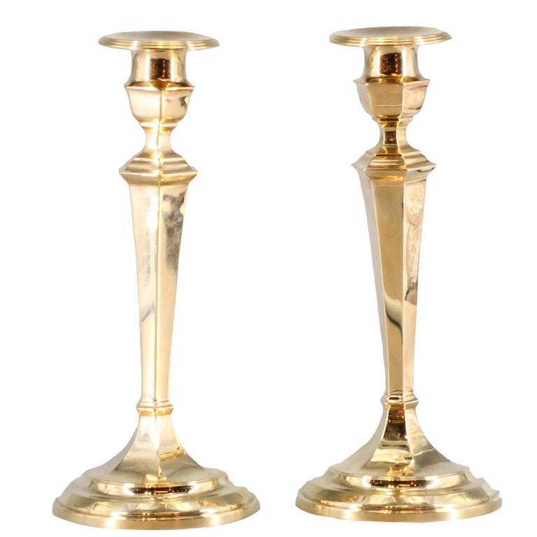 Gorham Retro Pair of Gold Candlesticks
