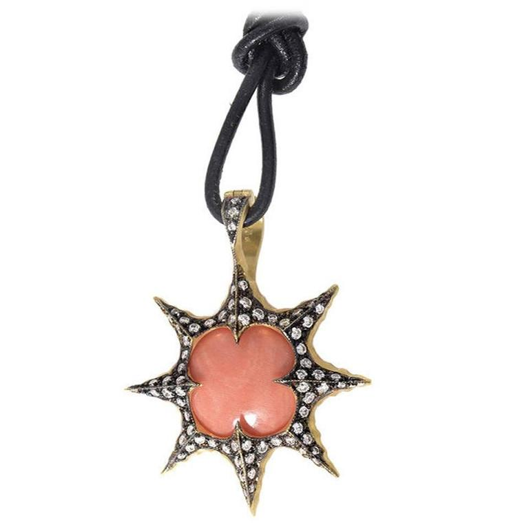 Cathy Waterman Coral Diamond Gold Sunburst Pendant Necklace For Sale