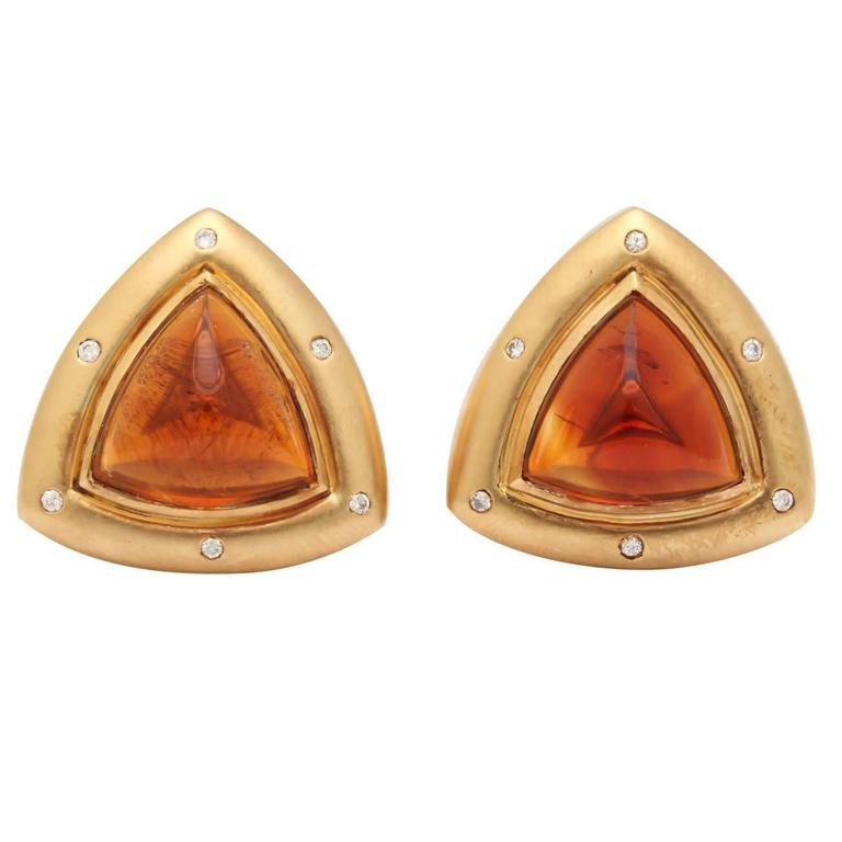 Gold Clip Earrings With Diamonds And Madeira Citrine Cabochons