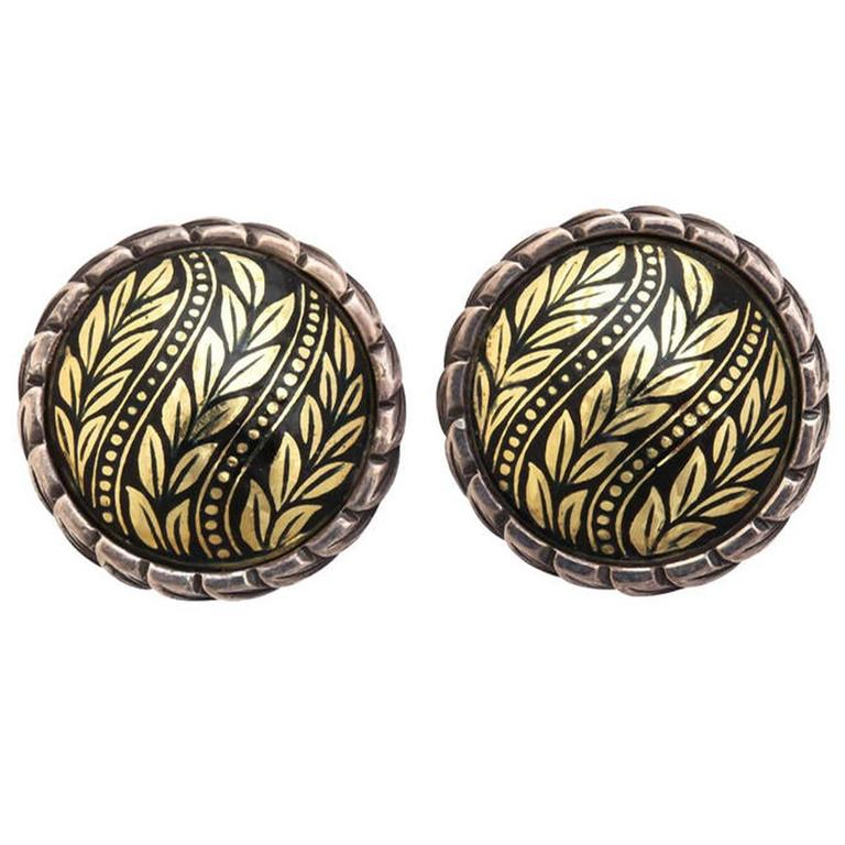 Enamel Silver Gold Wreath Earrings 1