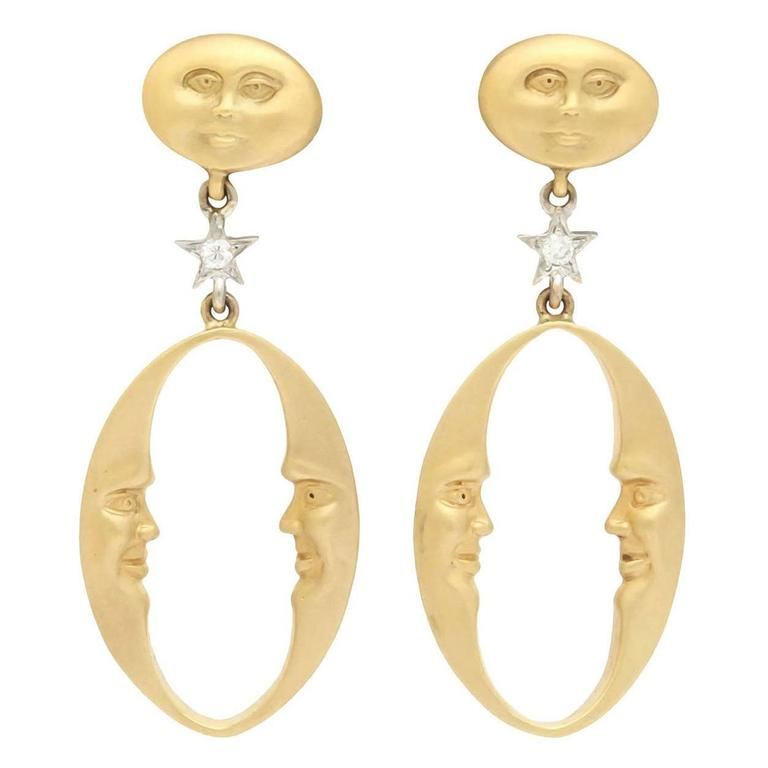 Gold Celestial Crescent Moon and Stars Earrings