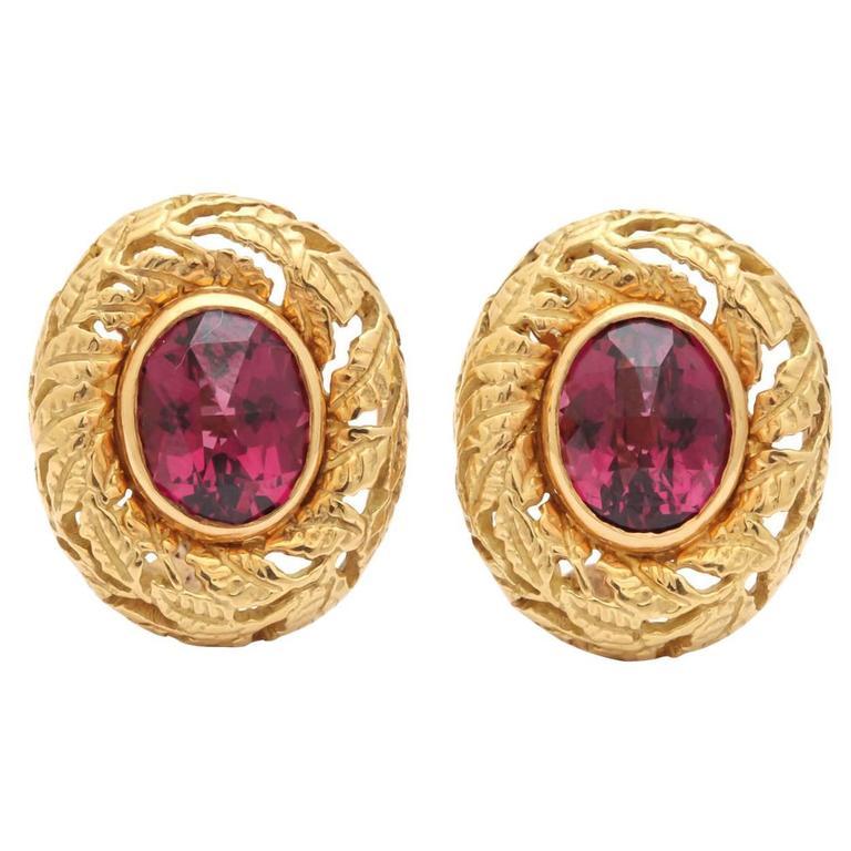 Gold Earrings with Rhodolite Garnets