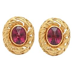 Gold Earrings with Rhodolite Garnets
