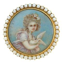Signed A.C. Lalli Handpainted Portrait Brooch