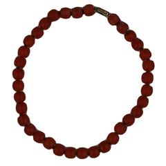 Antique Coral Barrel Beads