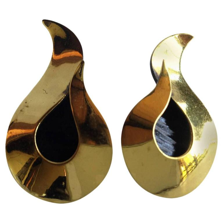 Art Smith Studio Brass Modernist Earrings