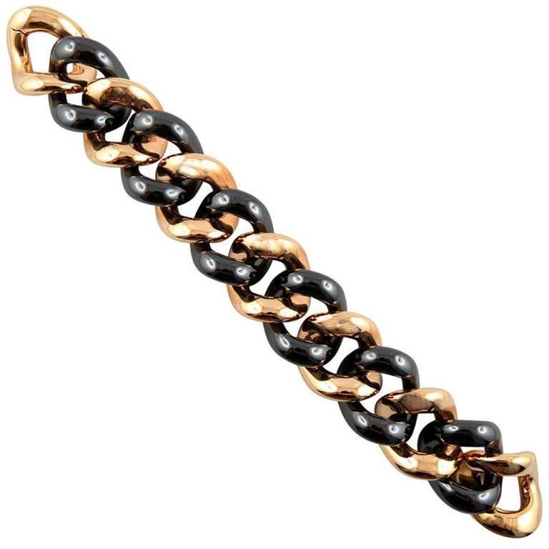 Jona High-Tech Black Ceramic 18 Karat Rose Gold Curb-Link Bracelet
