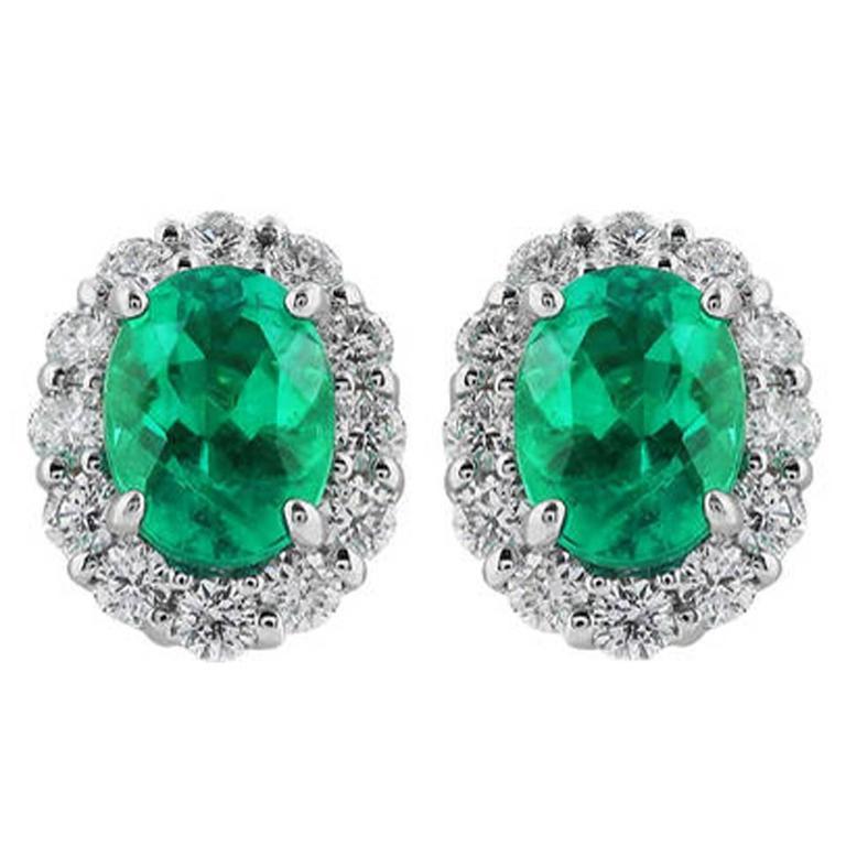 1.93 Carat Emerald Diamond Gold Earrings