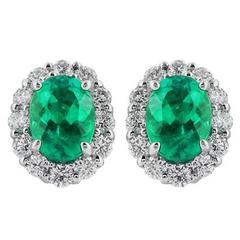 1.93 Carat Emerald Diamond Gold Earrings