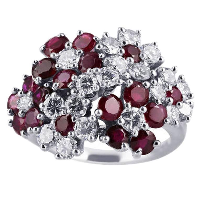 Ruby Diamond Platinum Floral Motif Ring For Sale