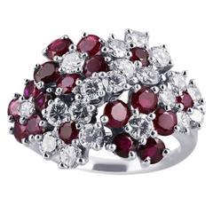 Ruby Diamond Platinum Floral Motif Ring