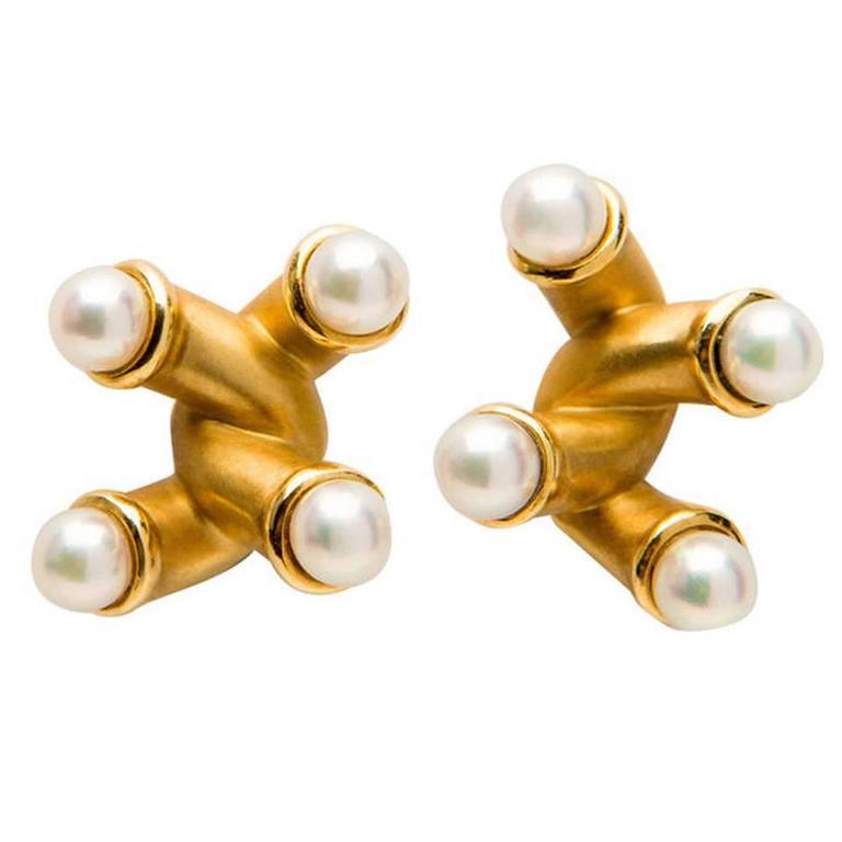 Angela Cummings Pearl Yellow Gold Earrings