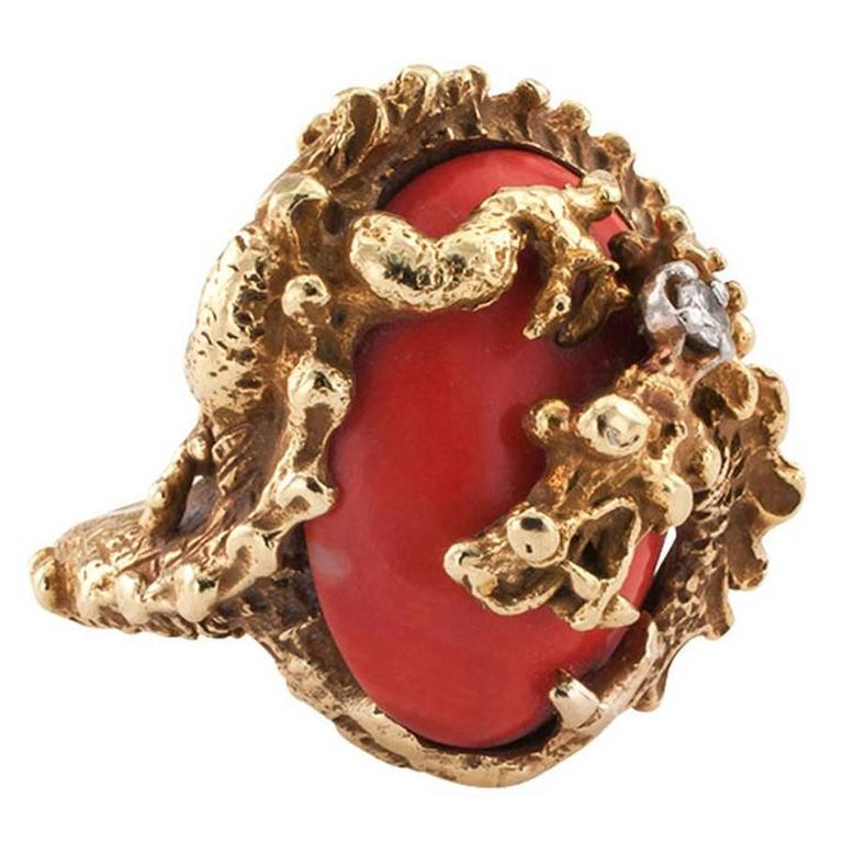 A Great Coral Gold Dragon Ring  1