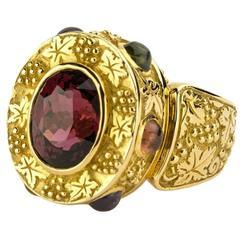 Toscana 6.02 Carat Malaya Garnet Sapphire Cabochon Gold Ring