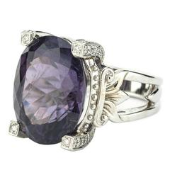 20.19 Carat Purple Tourmaline Diamond White Gold Ring