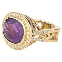 Purple Tourmaline Diamond Gold Ring
