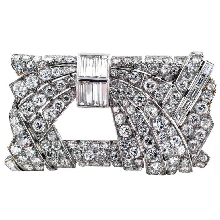 Art Deco French Diamond Platinum Rectangular Brooch