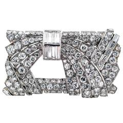 Art Deco French Diamond Platinum Rectangular Brooch