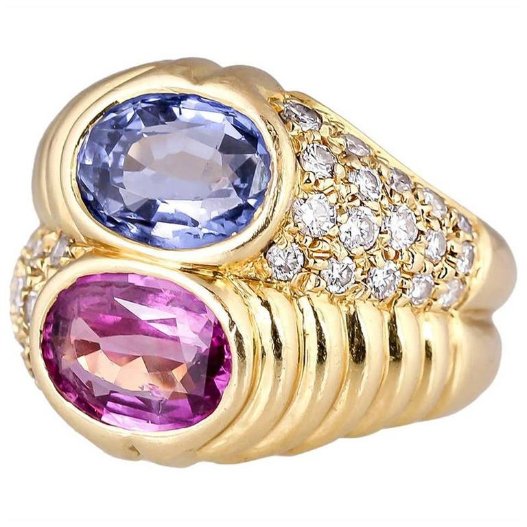 Bulgari Blue and Pink Sapphire Diamond Gold Ring For Sale