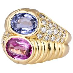 Bulgari Blue and Pink Sapphire Diamond Gold Ring