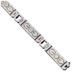 Magnificent Art Deco Onyx Emerald Diamond Platinum Bracelet