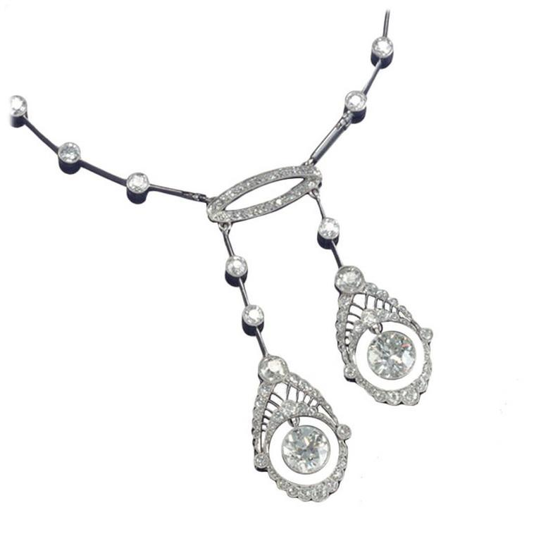 Edwardian 10.05 Carats Diamond Platinum Negligee Necklace