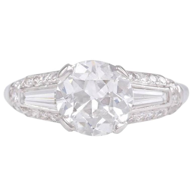 Shreve & Co. Art Deco Diamond Platinum Engagement Ring
