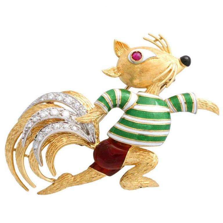 Claflin Style - Amusing Running Squirrel Enamel Ruby Diamond Gold Brooch