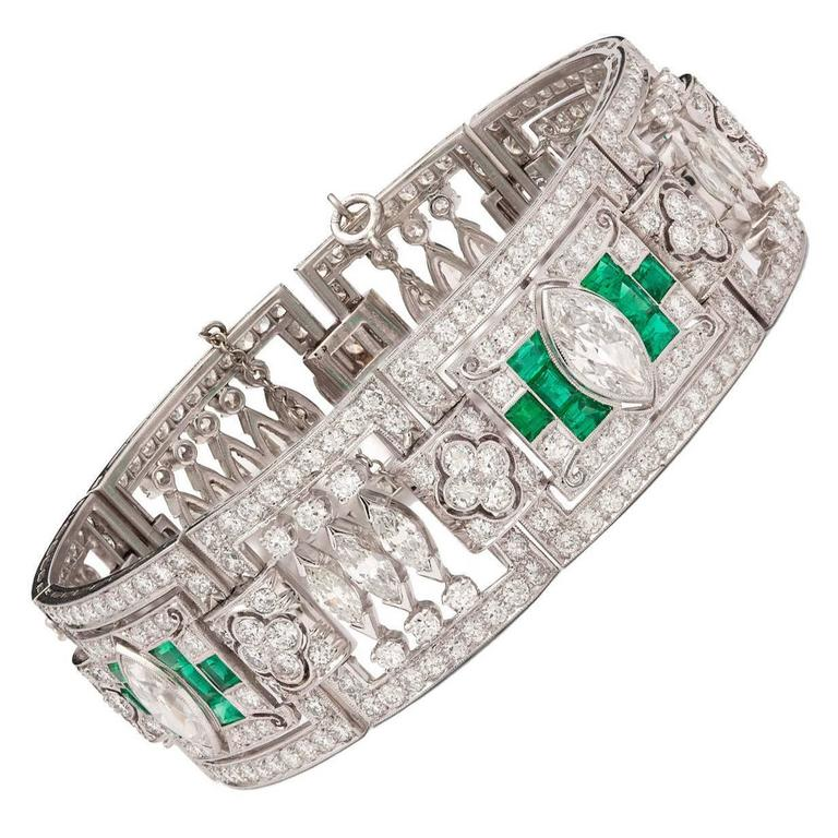 Art Deco Emerald Diamond Platinum Panel Bracelet