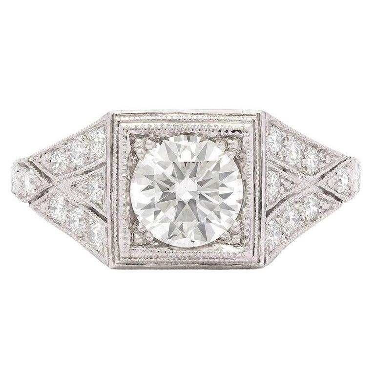 1.05 Carat GIA Certified Diamond Platinum Ring For Sale