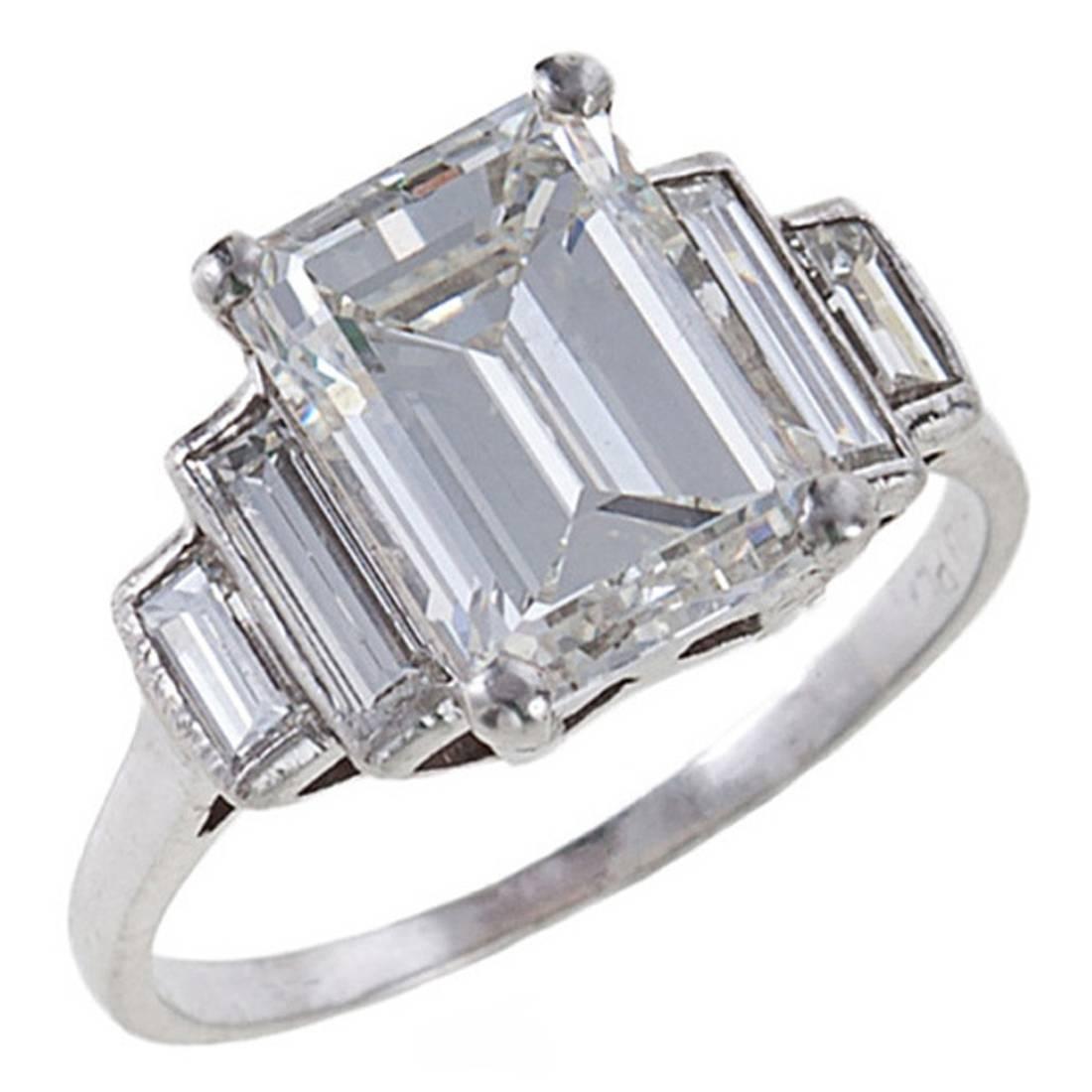 Fine 3 06 Carat Emerald Cut Diamond Platinum Ring at 1stdibs