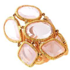 LeaderLine Pink Quartz Gold Ring