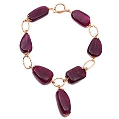 Large Tourmaline and Gold Link Necklace