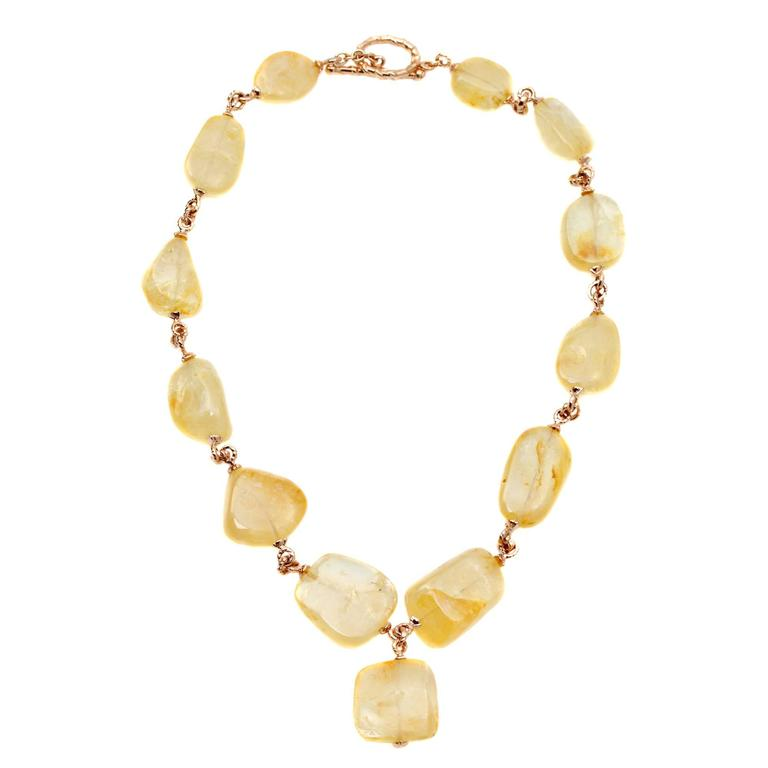 Large Yellow Sapphire and Gold Necklace