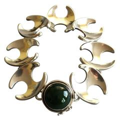 Georg Jensen Bracelet with Jadeite Cabochon, No. 130