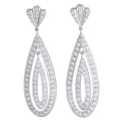 Long Diamond Gold Dangling Drop Earrings
