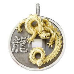 Stambolian Silver Gold Dragon Pendant