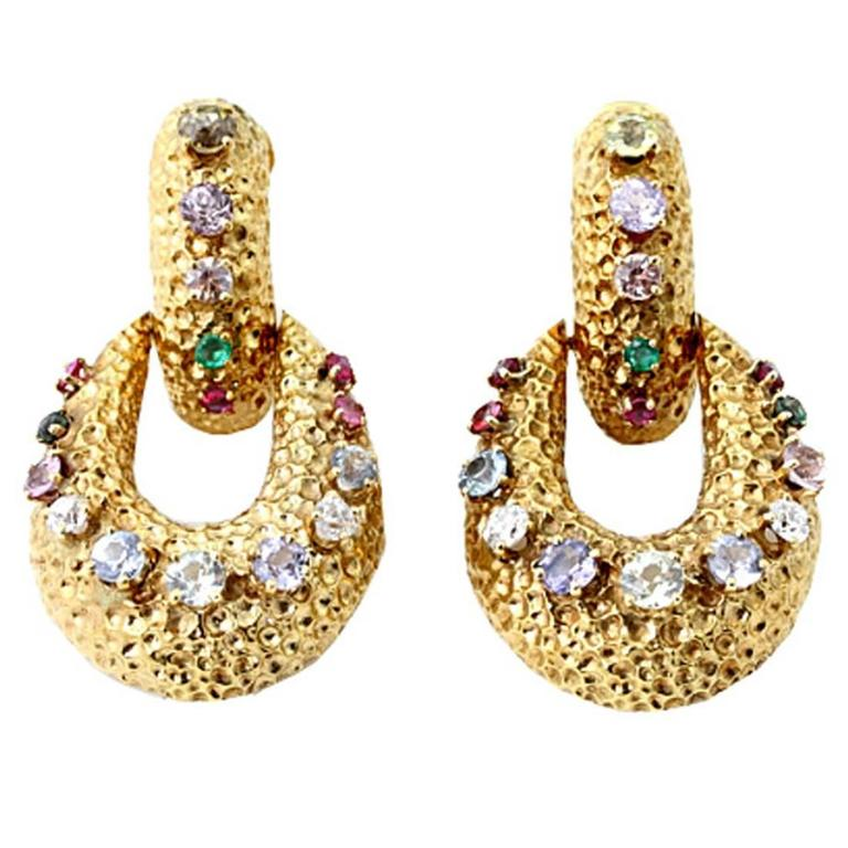 Multi Gem Hammered Gold Earrings