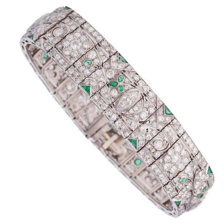 1920s Gorgeous Emerald Diamond Platinum Bracelet 1