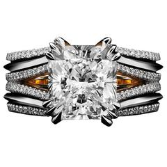 Alexandra Mor Double-Shank Floating Radiant-Cut Diamond Gold Platinum Ring