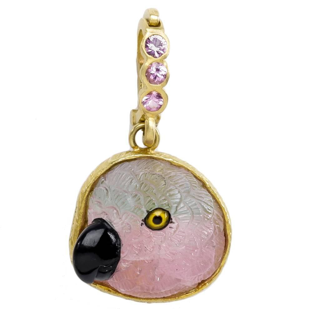 watermelon tourmaline parrot pendant for sale at 1stdibs