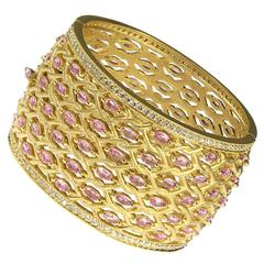 Pink Sapphire Diamond Gold Bangle Bracelet