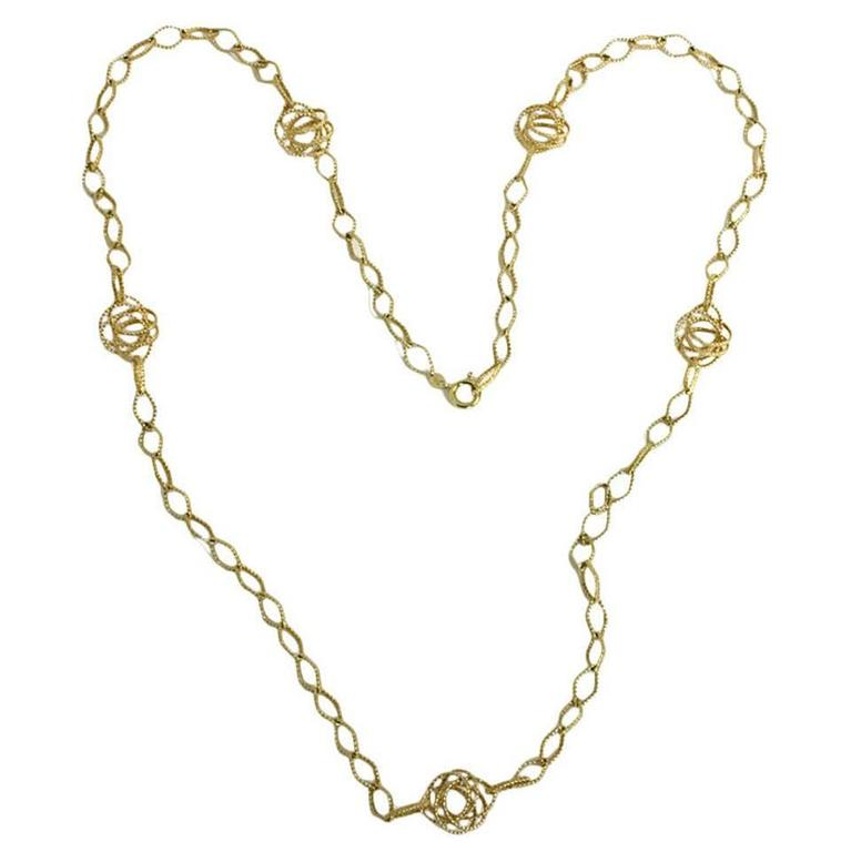 Long Gold Chain Necklace with Open Links For Sale