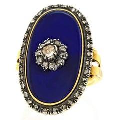 Spectacular Antique Diamond-set Enamel Ring